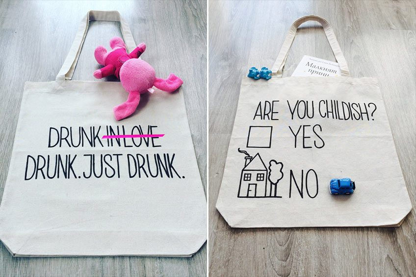 Creative Bags with funny Typography